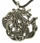 Large Celtic Seahorse Pewter Pendant Necklace