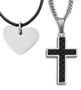 Silver Tone Heart Pendant with Black Cross Necklace for Women