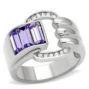 Wrap Style High Polished Stainless Steel Right Hand Ring with Triple Trapezoid Purple Crystal