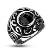 316L Stainless Steel Tribal Orb Black Cubic Zirconia Centre Cast Ring - Size