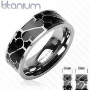 Solid Titanium with Black Enamal Design Ring
