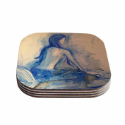 "KESS InHouse Theresa Giolzetti ""Mer-Maid. Huh..."" Grey Coral Coasters (Set of 4), 10cm x 10cm , Multicolor"