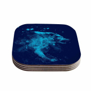 "KESS InHouse Frederic Levy-Hadida ""Predation Instinct II Blue Wolf"" Coasters (Set of 4), 10cm x 10cm , Multicolor"