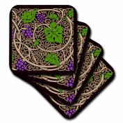 3dRose Arts & Crafts Style Grapes & Vine - Soft Coasters, Set of 8