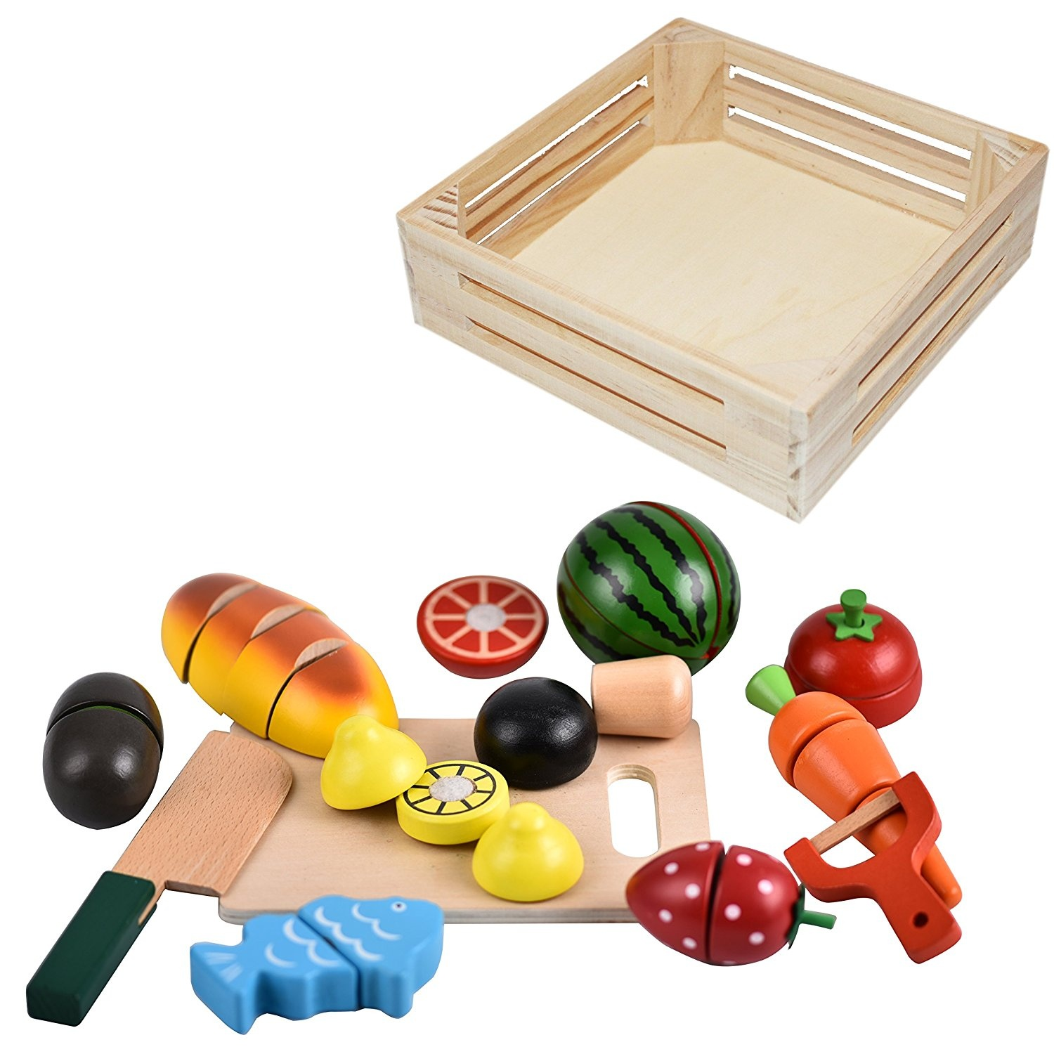 CARLORBO Wooden Toys Pretend Play Food for Children Kitchen,Role ...