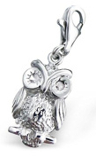 "Best Wing Jewellery .925 Sterling Silver Clip-on ""Owl / w Crystal"" Dangle Charm"
