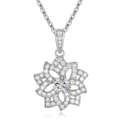 GTN2340 S925 Silver AAA CZ Stones 1.3 Carats Flower Pendant & 46cm Chain Rhodium Plated