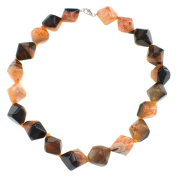 Dyed Orange Crystal Agate Cubes Womens Fashion Necklace