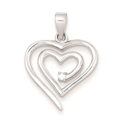 925 Sterling Silver Polished CZ Heart Charm Pendant 23mm x 17mm