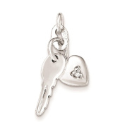 925 Sterling Silver Polished CZ Heart and Key Charm Pendant