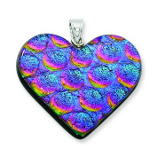 Sterling Silver Blue & Pink Dichroic Glass Heart Pendant