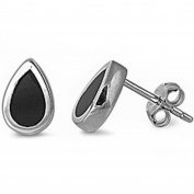 Tear Drop Simulated Black Onyx .925 Sterling Silver Earring Set
