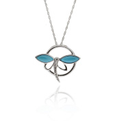 Sterling Silver Marquise Shaped Sleeping Beauty Turquoise Dragonfly Pendant Necklace 46cm Chain