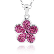 Sterling Silver Round Crystal Flower Pendant Necklace 46cm Chain
