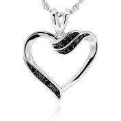 Sterling Silver Round Cubic Zirconia Cut-Out Heart Necklace 46cm Chain