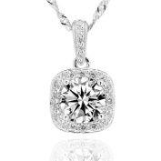 """Sterling Silver 7mm Round Cubic Zirconia Halo Pendant Necklace 18"""" Chain"""