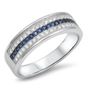 Simulated Blue Sapphire & Cz Wide Band .925 Sterling Silver Ring Sizes 5-10