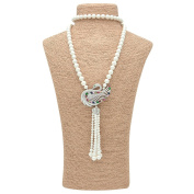 """Romantic Time """"Love Peacock"""" Cultured Pearl with Pear Diamond Cut Pendant Necklace"""