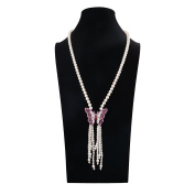 Romantic Time White Freshwater Cultured Pearl with Diamond Clasp Pendant Necklace