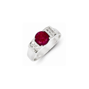 Sterling Silver Red Round W/pave Sides Cz Ring, Best Quality Free Gift Box Satisfaction Guaranteed