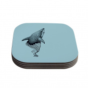 "Kess InHouse Graham Curran ""Shark Record II"" Coasters, 10cm by 10cm , Teal/Black, Set of 4"