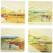 "CoasterStone AS1965 Absorbent Coasters, 11cm , ""Frank Lloyd Wright Wisconsin Red Barns"", Set of 4"