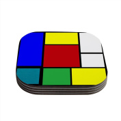 "Kess InHouse Oriana Cordero ""Mondrian and Me"" Multicolor Squares Coasters, 10cm by 10cm , Multicolor, Set of 4"