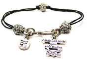 Chicks With Sticks Love Field Hockey Pewter Charm on a Pewter Beaded Black Waxed Cord Bracelet