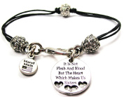 It's Not Flesh And Blood But Heart Which Makes Us Sisters Pewter Charm on a Pewter Beaded Cord Bracelet