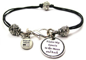 I Love My Cousin To The Moon And Back Pewter Charm on a Pewter Beaded Black Waxed Cord Bracelet
