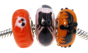 """Best Wing Jewellery .925 Sterling Silver Core Set of (3) Halloween """"Bat, Black Cat and Ghost"""" Murano Glass Charm Bead"""