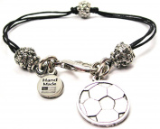 Engraved Soccer Ball Pewter Beaded Black Waxed Cord Bracelet By Chubby Chico Charms, Fits up to 20cm