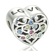 "Best Wing Jewellery .925 Sterling Silver Valentine's Day ""Love on Heart /w Crystal"" Charm Bead for Snake Chain Charm Bracelets"