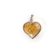 Yellow Floating Chipstone Alloy Heart-Shaped Pendant With Necklace Jewellery Valentine Gift