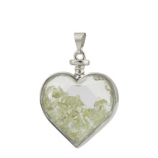 Green Floating Chipstone Alloy Heart-Shaped Pendant With Necklace Jewellery Valentine Gift