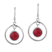 Modern Circles Reconstructed Red Coral Drop Sterling Silver Dangle Earrings