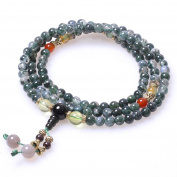 6mm 108 Natural Grass Green Agate Beads Buddhist Prayer Mala Necklace Bracelet