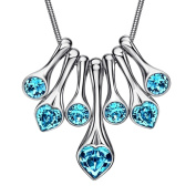 Neoglory Made with Elements Crystal Chain Bib Necklaces Blue Love 46cm