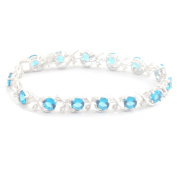 Beautiful Sterling Silver Bangle Bracelet with Topaz Blue and White Stones