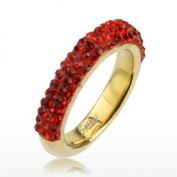 Gold Tone IP over 316L Stainless Steel Ring with Red Multi Cubic Zirconia Ferido Half-round Band Ring - Width