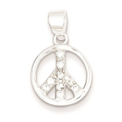 925 Sterling Silver CZ Peace Sign Charm Pendant