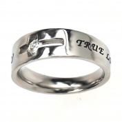 """Christian Women's Stainless Steel Abstinence Cutout Cross Cubic Zirconium Solitaire """"True Love Waits"""" 1 Timothy 4:12 Chasity Ring for Girls - Purity Rings for Girls"""