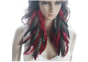 Long Feather Earrings for Women Chain Natural Red Feather Earrings for Women