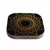 "KESS InHouse Matt Eklund ""Gilded Sundial"" Gold Black Coasters (Set of 4), 10cm x 10cm , Multicolor"