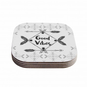 "KESS InHouse Famenxt ""Boho Good Vibes"" Black Grey Coasters (Set of 4), 10cm x 10cm , Multicolor"