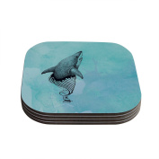 "Kess InHouse Graham Curran ""Shark Record III"" Coasters, 10cm by 10cm , Teal/Pink, Set of 4"