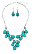 Stone Teardrop Cabochon Bib Necklace With Matching Earrings