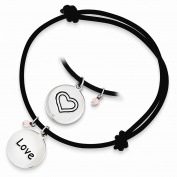 Perfect Jewellery Gift Sterling Silver Black Leather Expandable Cord Bracelet