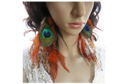 Long Feather Earrings for Women Peacock Orange Natural Feather Earrings