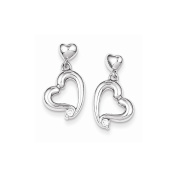 Sterling Silver Rhodium Plated CZ Heart Post Earrings